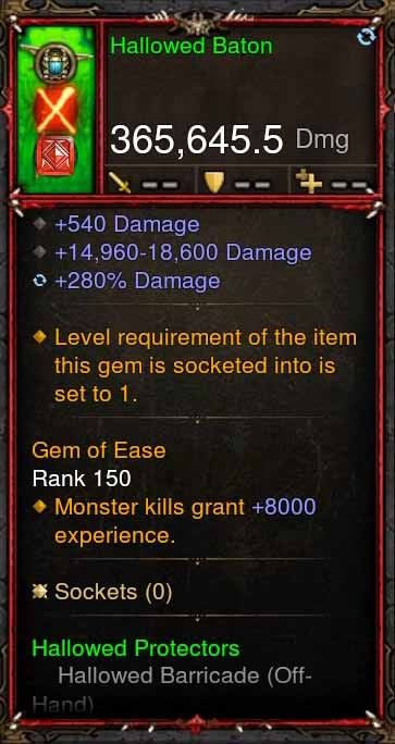 [Primal Ancient] 365k Actual DPS Hallowed Baton-Diablo 3 Mods - Playstation 4, Xbox One, Nintendo Switch