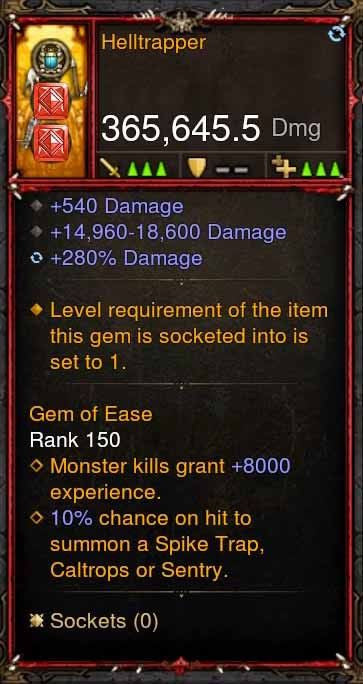 [Primal Ancient] 365k Actual DPS Helltrapper-Diablo 3 Mods - Playstation 4, Xbox One, Nintendo Switch