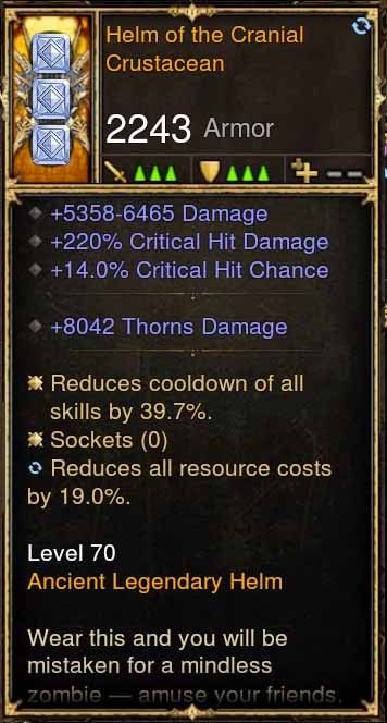 Helm of the Cranial Crustacean 5.3-6.4k Damage, 220% CHD, 14% CC (Rare XMOG) Modded Helm-Diablo 3 Mods - Playstation 4, Xbox One, Nintendo Switch