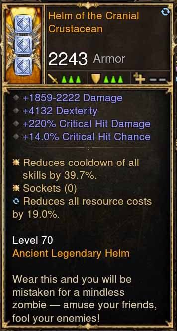 Helm of the Cranial Crustacean 4.1k DEX, 220% CHD, 14% CC (Rare XMOG) Modded Helm-Diablo 3 Mods - Playstation 4, Xbox One, Nintendo Switch