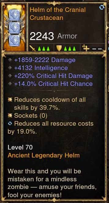 Helm of the Cranial Crustacean 4.1k INT, 220% CHD, 14% CC (Rare XMOG) Modded Helm-Diablo 3 Mods - Playstation 4, Xbox One, Nintendo Switch
