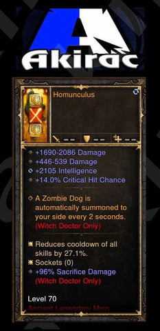 Homunculus 2.1k Int, 14% Crit, 96% Sacrifice Damage p4.2.2 Mojo Offhand Modded-Diablo 3 Mods - Playstation 4, Xbox One, Nintendo Switch