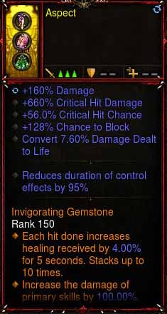 [Primal Ancient] 1-70 Immortal Modded Ring 660% CHD, 56% CC, 128% Block, RCE 95% Aspect