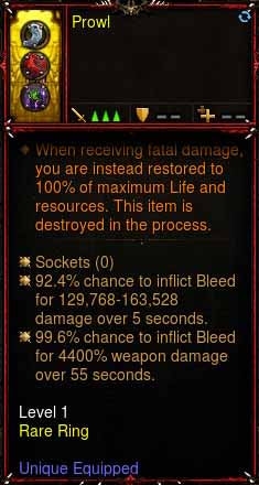 [Primal Ancient] 1-70 Immortal Modded Ring 11k-13k Damage + 96% to Bleed Damage x2 Prowl Prowl