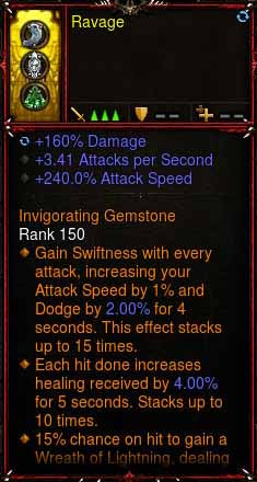 [Primal Ancient] 1-70 Immortal Modded Ring +3.41 APS, 240% Attack Speed, 160% Damage Ravage