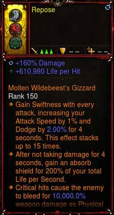[Primal Ancient] 1-70 Immortal Modded Ring 610% LPH, 48% CDR, 160% Damage Repose