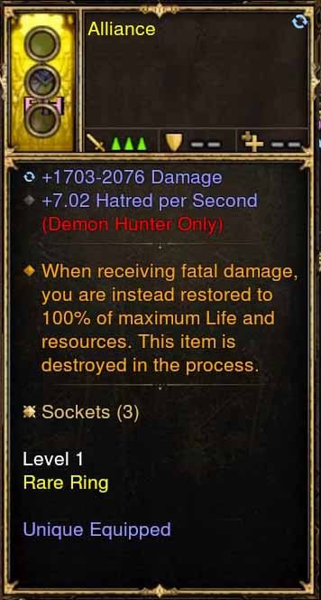 Level 1 Immortal Modded Ring 7.02 Hatred Per Second (Unsocketed) Alliance-Diablo 3 Mods - Playstation 4, Xbox One, Nintendo Switch