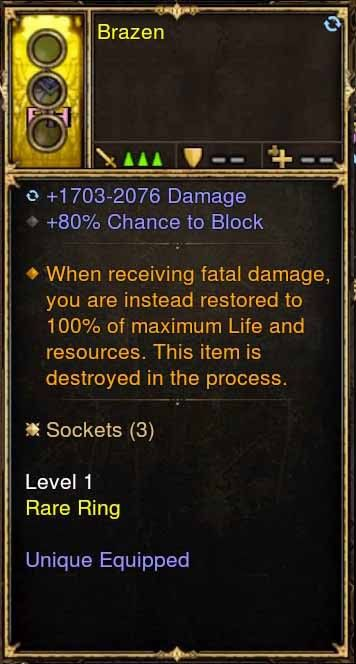 Level 1 Immortal Modded Ring +80% Block (Unsocketed) Brazen-Diablo 3 Mods - Playstation 4, Xbox One, Nintendo Switch