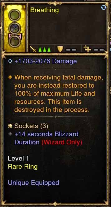 Level 1 Immortal Modded Ring w/14 Seconds Blizzard Duration (Unsocketed) Breathing-Diablo 3 Mods - Playstation 4, Xbox One, Nintendo Switch