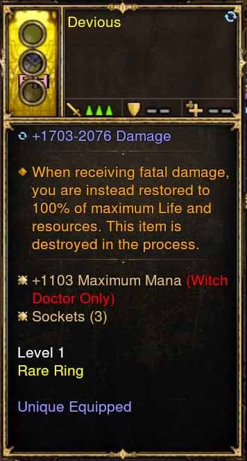 Level 1 Immortal Modded Ring +1103 Maximum Mana (Unsocketed) Devious-Diablo 3 Mods - Playstation 4, Xbox One, Nintendo Switch