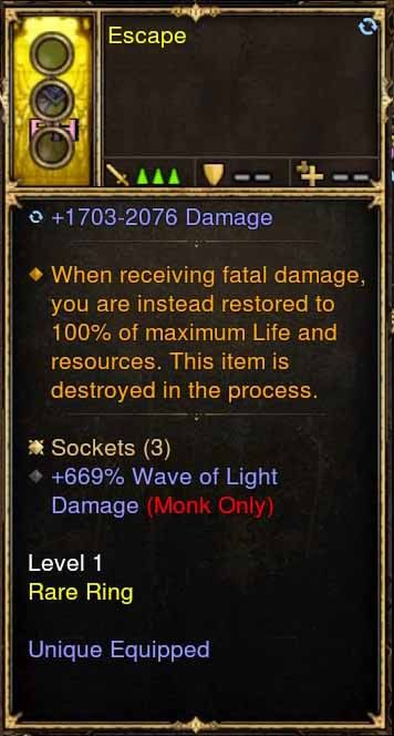 Level 1 Immortal Modded Ring +669% Wave of Light Damage (Unsocketed) Escape-Diablo 3 Mods - Playstation 4, Xbox One, Nintendo Switch