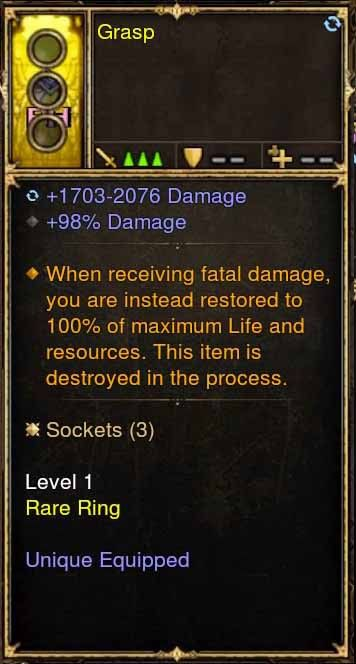 Level 1 Immortal Modded Ring +98% Damage (Unsocketed) Grasp-Diablo 3 Mods - Playstation 4, Xbox One, Nintendo Switch