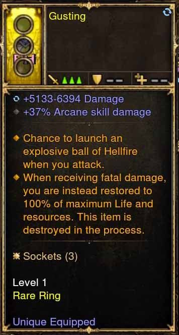 Level 1 Immortal Modded Ring Fireball, +37% Arcane Skill (Unsocketed) Gusting-Diablo 3 Mods - Playstation 4, Xbox One, Nintendo Switch