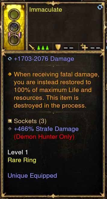 Level 1 Immortal Modded Ring +466% Strafe Damage (Unsocketed) Immaculate-Diablo 3 Mods - Playstation 4, Xbox One, Nintendo Switch