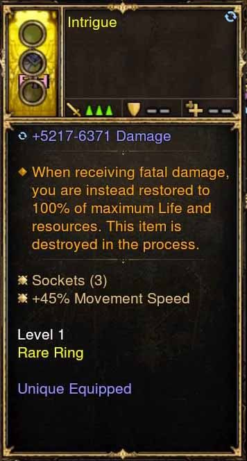 Level 1 Immortal Modded Ring +45% Movement Speed (Unsocketed) Intrigue-Diablo 3 Mods - Playstation 4, Xbox One, Nintendo Switch