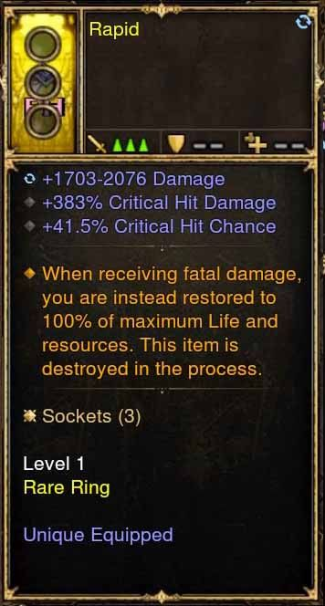 Level 1 Immortal Modded Ring 383% CHD, 41% CC (Unsocketed) Rapid-Diablo 3 Mods - Playstation 4, Xbox One, Nintendo Switch