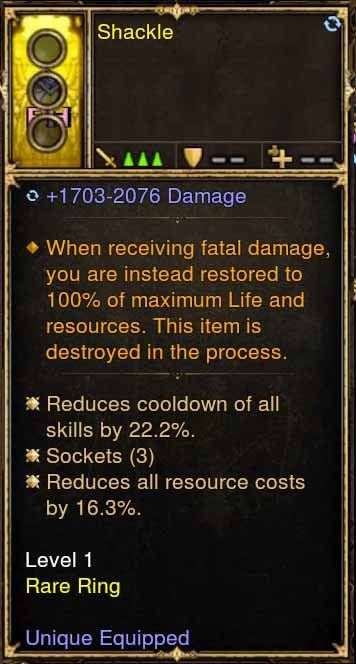 Level 1 Immortal Modded Ring +22.2% CDR, +16% RR (Unsocketed) Shackle-Diablo 3 Mods - Playstation 4, Xbox One, Nintendo Switch