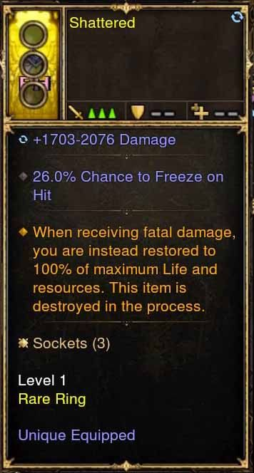 Level 1 Immortal Modded Ring 26% Chance to Freeze (Unsocketed) Shattered-Diablo 3 Mods - Playstation 4, Xbox One, Nintendo Switch