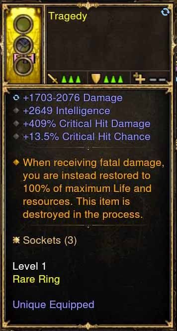 Level 1 Immortal Modded Ring 2.6k INT, 409% CHD, 13.5% CC (Unsocketed) Tradegy-Diablo 3 Mods - Playstation 4, Xbox One, Nintendo Switch