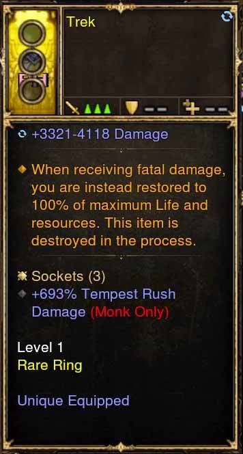 Level 1 Immortal Modded Ring 3.3k-4.1k Damage, +693% Tempest Rush Damage (Unsocketed) Trek-Diablo 3 Mods - Playstation 4, Xbox One, Nintendo Switch