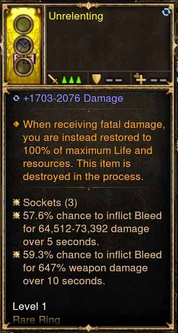 Level 1 Immortal Modded Ring 57% + 59% Bleed Damage (Unsocketed) Unrelenting-Diablo 3 Mods - Playstation 4, Xbox One, Nintendo Switch