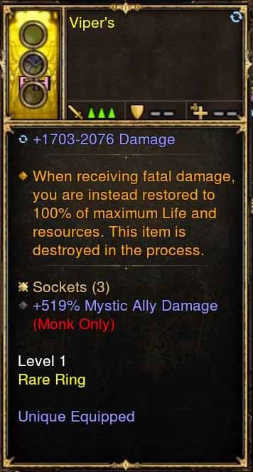 Level 1 Immortal Modded Ring +519% Mystic Ally Damage (Unsocketed) Viper's-Diablo 3 Mods - Playstation 4, Xbox One, Nintendo Switch