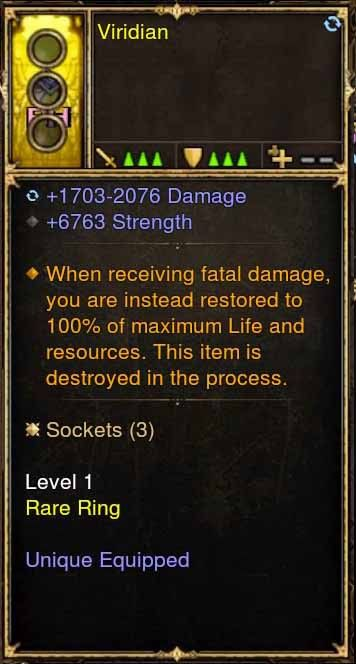 Level 1 Immortal Modded Ring 6.7k STR (Unsocketed) Viridian-Diablo 3 Mods - Playstation 4, Xbox One, Nintendo Switch