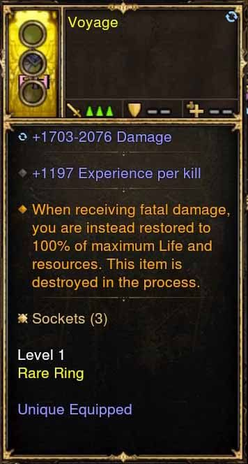 Level 1 Immortal Modded Ring 1197 EXP Per Kill (Unsocketed) Voyage-Diablo 3 Mods - Playstation 4, Xbox One, Nintendo Switch