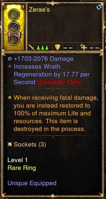 Level 1 Immortal Modded Ring 17.77 Wrath Per Second (Unsocketed) Zerae's-Diablo 3 Mods - Playstation 4, Xbox One, Nintendo Switch