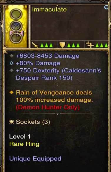Rain of Vengeance 100% Increased Damage Demon Hunter Modded Ring (Unsocketed) Immaculate-Diablo 3 Mods - Playstation 4, Xbox One, Nintendo Switch