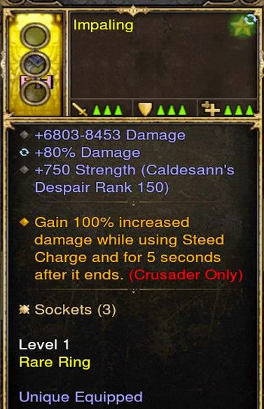 Gain 100% Damage while using Steed Crusader Modded Ring (Unsocketed) Impaling-Diablo 3 Mods - Playstation 4, Xbox One, Nintendo Switch