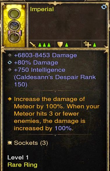 Increase Meteor Damage by 100% Wizard Modded Ring (Unsocketed) Imperial-Diablo 3 Mods - Playstation 4, Xbox One, Nintendo Switch