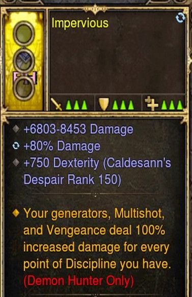 Multishot & Vengeance 100% Additional Damage Demon Hunter Modded Ring (Unsocketed) Impervious-Diablo 3 Mods - Playstation 4, Xbox One, Nintendo Switch