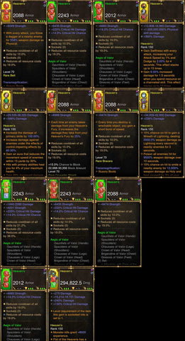 Diablo 3 Immortal v3 Valor 2.6.7 Crusader Modded Set for Rift 150 Heavens
