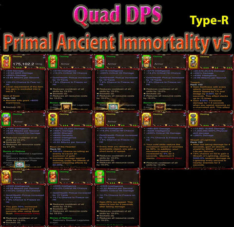 [Primal Ancient] [Quad DPS] 1-70 Immortality v5 Oozing Speed Necromancer 5/6 Rathma's Set-Diablo 3 Mods - Playstation 4, Xbox One, Nintendo Switch