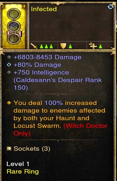 100% Increased Damage to Those Affected by Haunt Witch Doctor Modded Ring (Unsocketed) Infected-Diablo 3 Mods - Playstation 4, Xbox One, Nintendo Switch