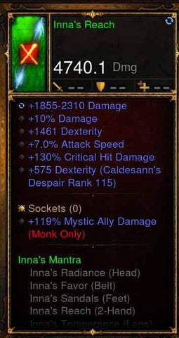 Fake Legit Innas Set Staff 4740 DPS 119% Mystic Ally, 10%, 7% IAS-Diablo 3 Mods - Playstation 4, Xbox One, Nintendo Switch