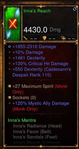 Fake Legit Innas Set Staff 4430 10%, 120% Mystic Ally + 27 Max Spirit-Diablo 3 Mods - Playstation 4, Xbox One, Nintendo Switch