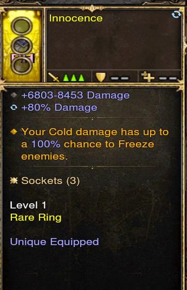 Cold Damage 100% Chance To Freeze Wizard Modded Ring (Unsocketed) Innocence-Diablo 3 Mods - Playstation 4, Xbox One, Nintendo Switch