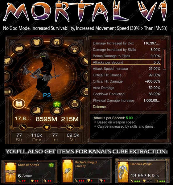 [Created 3/7/17] Mortality v1 Sin Shadow Mantle Demon Hunter #2 Speed STRAFE 40% Faster than V5's-Diablo 3 Mods - Playstation 4, Xbox One, Nintendo Switch