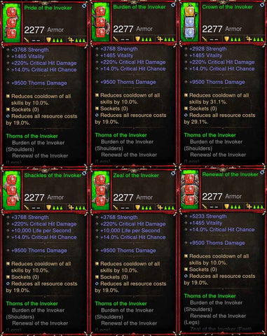 [Primal Ancient] 6x Invoker Crusader Set-Diablo 3 Mods - Playstation 4, Xbox One, Nintendo Switch