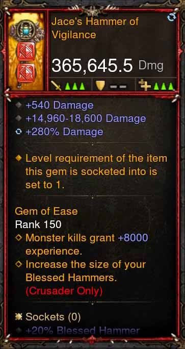 [Primal Ancient] 365k Actual DPS Jaces Hammer of Vigilance-Diablo 3 Mods - Playstation 4, Xbox One, Nintendo Switch