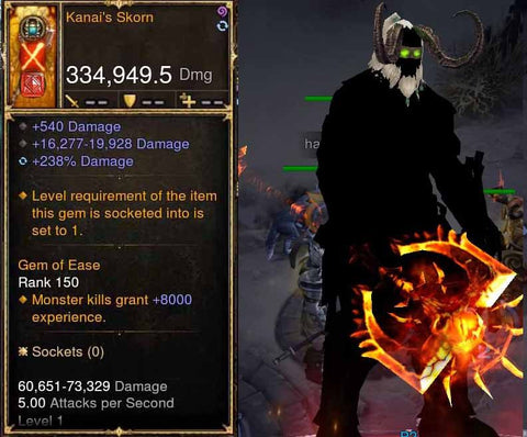 Kanai's Scorn 334k Actual DPS Modded Weapon (RARE XMOG)-Diablo 3 Mods - Playstation 4, Xbox One, Nintendo Switch