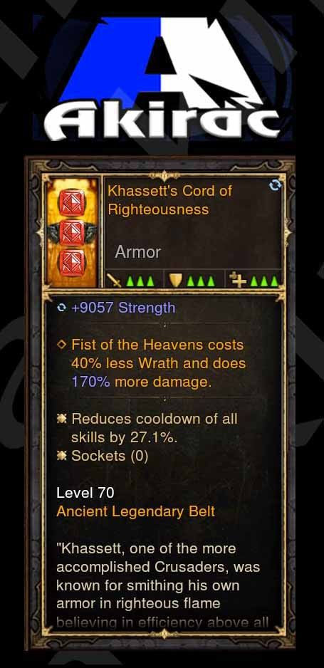 Khassett's Cord of Righteousness 9k Str, 27% CDR, Perfect 170% FOH Damage p4.2.2 Modded Belt-Diablo 3 Mods - Playstation 4, Xbox One, Nintendo Switch