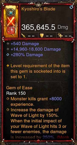 [Primal Ancient] 365k Actual DPS Kyoshiros Blade-Diablo 3 Mods - Playstation 4, Xbox One, Nintendo Switch