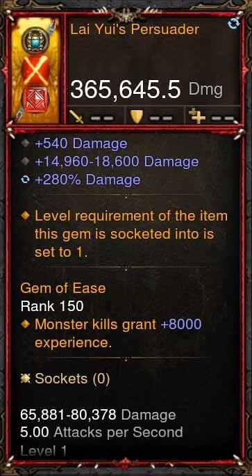 [Primal Ancient] 365k Actual DPS Lai Yui's Persuader-Diablo 3 Mods - Playstation 4, Xbox One, Nintendo Switch