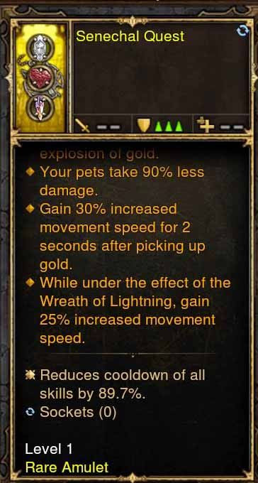 Level 1 High Cooldown Reduction Amulet-Diablo 3 Mods - Playstation 4, Xbox One, Nintendo Switch