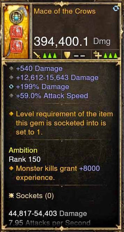 Mace of Crows 394k DPS (RARE XMOG) Modded Weapon-Diablo 3 Mods - Playstation 4, Xbox One, Nintendo Switch