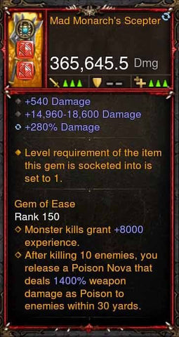 [Primal Ancient] 365k Actual DPS Mad Monarchs Scepter-Diablo 3 Mods - Playstation 4, Xbox One, Nintendo Switch