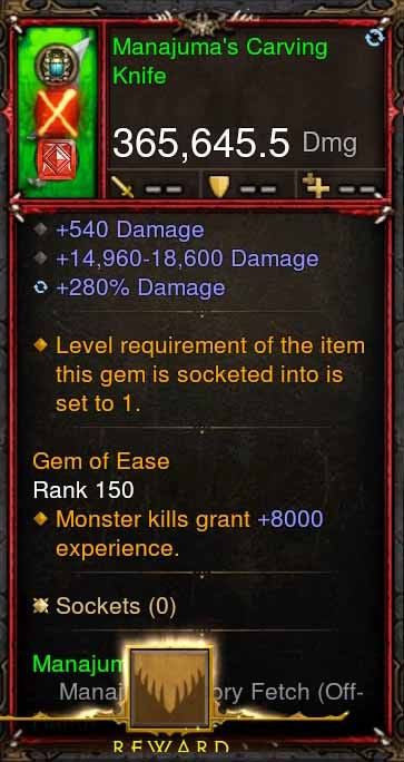 [Primal Ancient] 365k Actual DPS Manajumas Carving Knife-Diablo 3 Mods - Playstation 4, Xbox One, Nintendo Switch